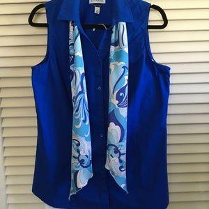Royal Blue Sleeveless Oxford Shirt